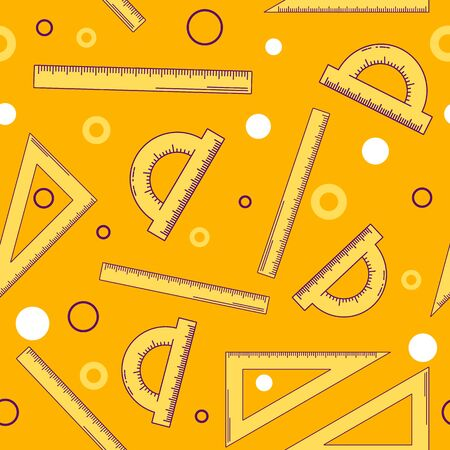 illustration. seamless abstract pattern. background with a ruler, triangle and protractor. round. orange