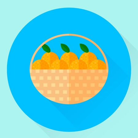 illustration. flat round icon with baskets of oranges with green leaves