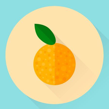 illustration. flat round orange icon with green leaf Imagens - 132063093