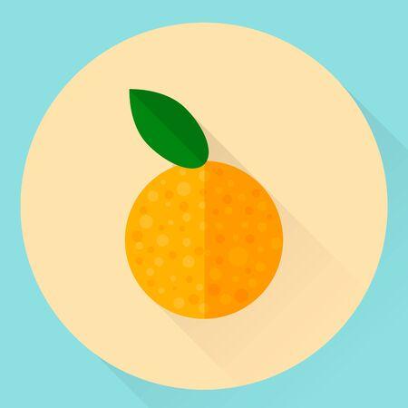 illustration. flat round orange icon with green leaf