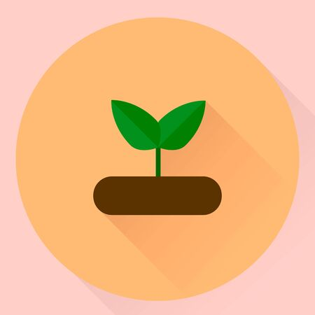 illustration. flat round icon seedling with green leaves
