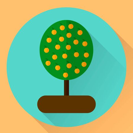 illustration. flat round icon orange tree