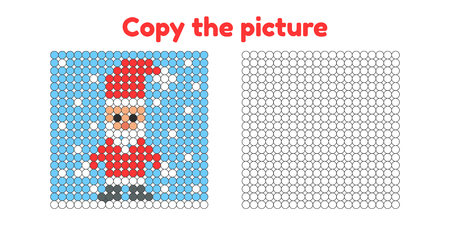 Educational game for attention for children of kindergarten and preschool age. Repeat the picture. Copy the illustration. Color by example. Winter and new year. Santa Claus.