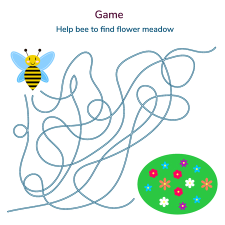 illustration. game for children. maze or labyrinth for kids. cartoon cute bee and flower. tangled road.