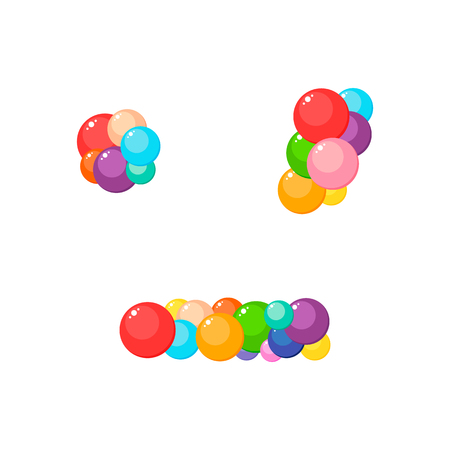 Vector cartoon dot, comma, dash for kids of the colored balls. Illustration