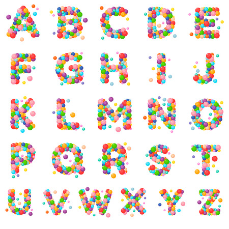 Vector set letters of the alphabet for kids of the colored balls.