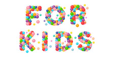 Vector cartoon phrase for kids of colored balls. Vectores