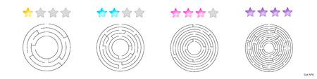 illustration d'un ensemble de 4 labyrinthes circulaires pour enfants à différents niveaux de complexité