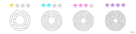 illustration of set of 4 circular mazes for kids at different levels of complexity