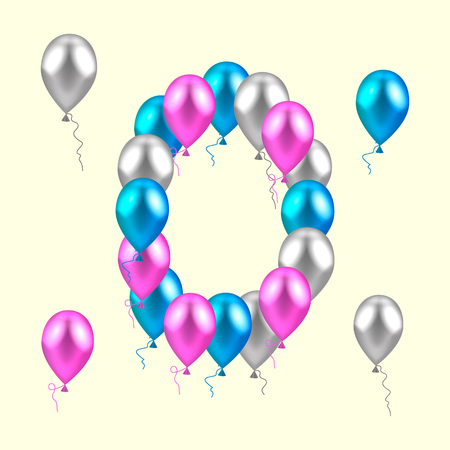 illustration. realistic colored balloons. zero, null pink silver blue Фото со стока