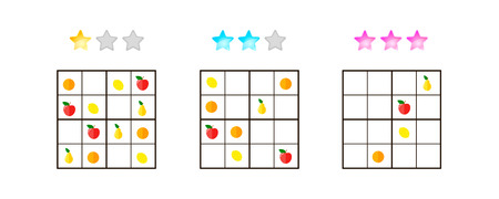 illustration. Sudoku for kids with pictures at different levels of complexity. Logic game for preschool children. Educational game. rebus. Apples, pears, oranges, lemons. Banque d'images - 117470492