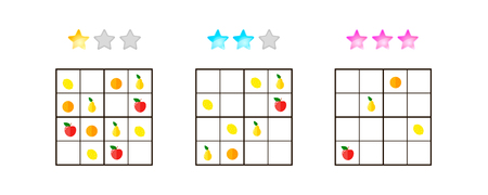 illustration. Sudoku for kids with pictures at different levels of complexity. Logic game for preschool children. Educational game. rebus. Apples, pears, oranges, lemons. Banque d'images - 117470495