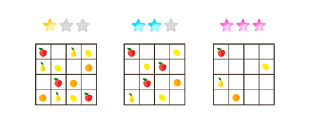 illustration. Sudoku for kids with pictures at different levels of complexity. Logic game for preschool children. Educational game. rebus. Apples, pears, oranges, lemons. Banque d'images - 117470491
