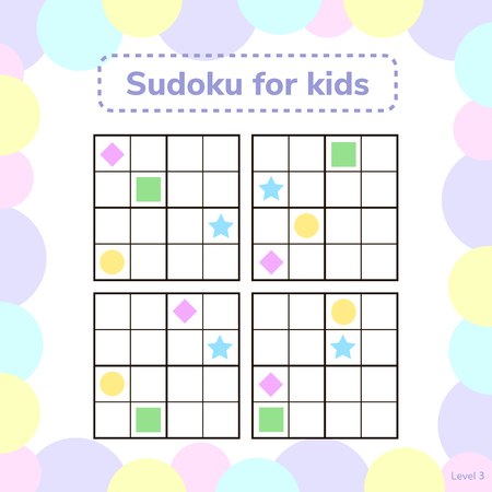 illustration. Sudoku for kids with pictures. Logic game for preschool children. rebus for children. Educational game. rhombus, star, square, circle.