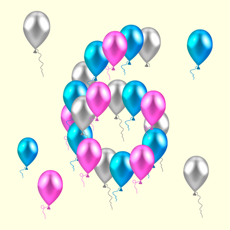 illustration. realistic colored balloons on the sixth birthday. pink, silver, blue