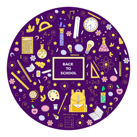 illustration, doodles, back to school, line art, purple background, blackboard, backpack, ruler, globe, pen, flasks light integral numbers chalk flowers notebook star spiral circle Banco de Imagens