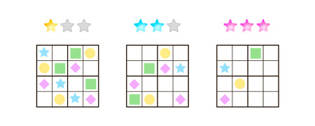 illustration. Sudoku for kids with pictures at different levels of complexity. Logic game for preschool children. Educational game. rebus. rhombus, star, square, circle.