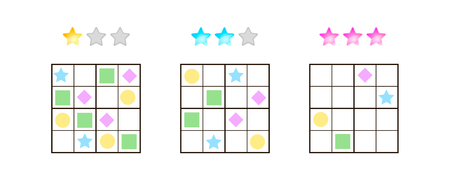illustration. Sudoku for kids with pictures at different levels of complexity. Logic game for preschool children. Educational game. rebus. rhombus, star, square, circle. Banque d'images - 117470540