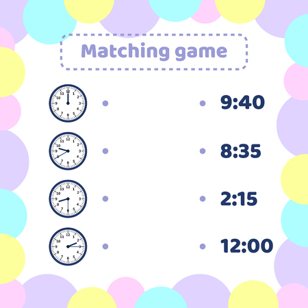 illustration. matching game for kids preschool and school age. What time is it round watch.