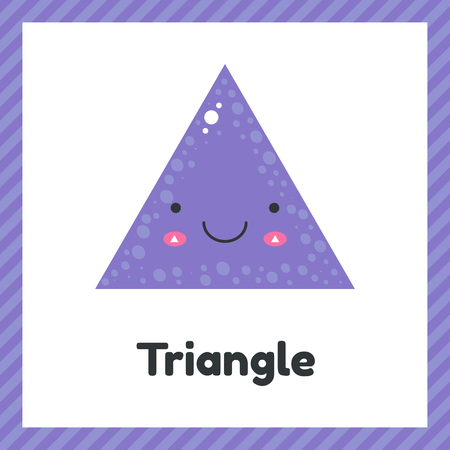 vector illustration. cute geometric figures for kids. Violet shape triangle isolated on white background.