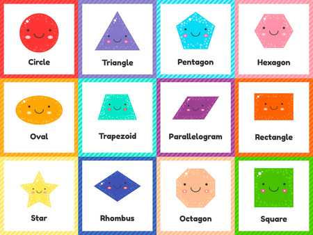 vector illustration. set cute geometric figures for kids. Isolated shapes on white background. For education in school and preschool age.