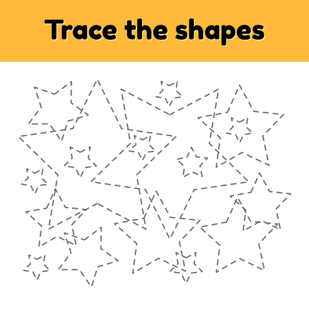 Vector illustration. Educational tracing worksheet for kids kindergarten, preschool and school age. Trace the geometric shape.  Dashed lines. Star. Ilustrace