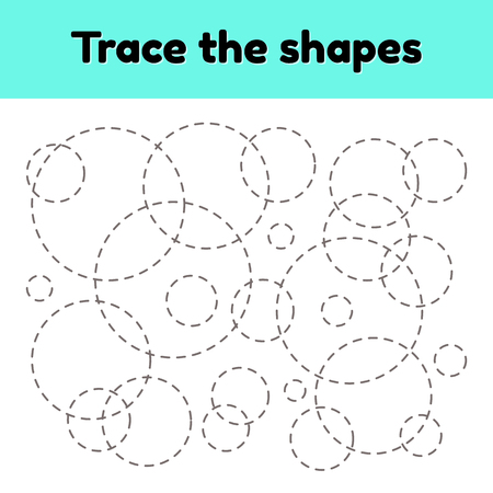 Vector illustration. Educational tracing worksheet for kids kindergarten, preschool and school age. Trace the geometric shape.  Dashed lines. Circle.