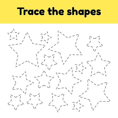 Illustration vectorielle. Feuille de travail de traçage pédagogique pour les enfants d'âge préscolaire, préscolaire et scolaire. Tracez la forme géométrique. Lignes en pointillé. Star.