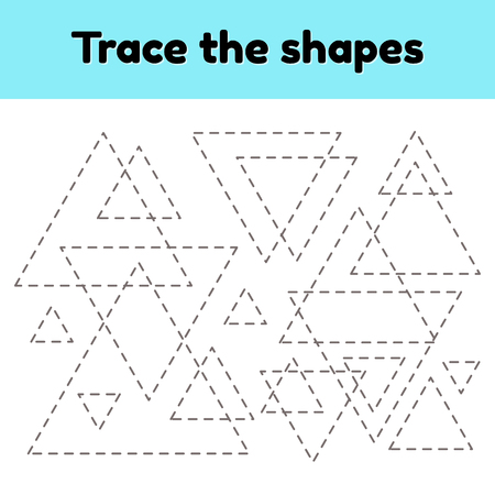 Vector illustration. Educational tracing worksheet for kids kindergarten, preschool and school age. Trace the geometric shape.  Dashed lines. Triangle. Ilustrace