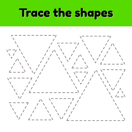 Vector illustration. Educational tracing worksheet for kids kindergarten, preschool and school age. Trace the geometric shape. Dashed lines. Triangle.