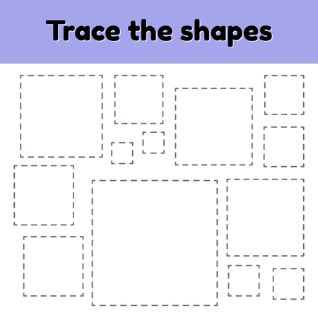 Vector illustration. Educational tracing worksheet for kids kindergarten, preschool and school age. Trace the geometric shape.  Dashed lines. Square. Ilustrace