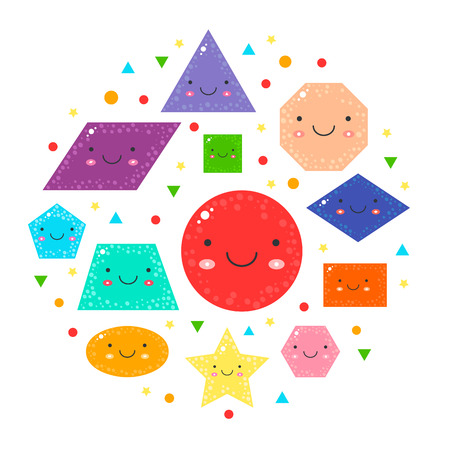 set cute geometric figures for kids. Isolated shapes on white background. For education in school, preschool and kindergarten age. Collection for learn children.