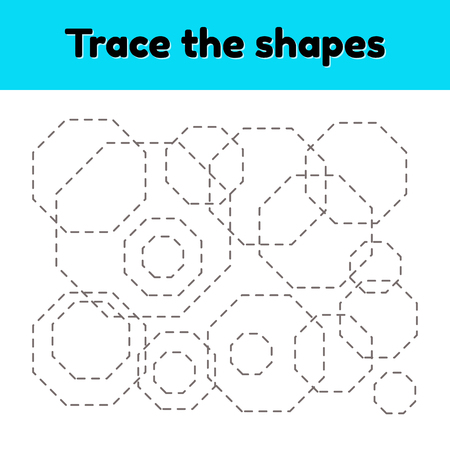 Educational tracing worksheet for kids kindergarten, preschool and school age. Trace the geometric shape. Dashed lines. octagon.