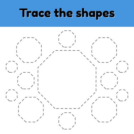 Arbeitsblatt zur pädagogischen Ablaufverfolgung für Kinder im Kindergarten-, Vorschul- und Schulalter. Verfolgen Sie die geometrische Form. Gestrichelt. Achteck. Vektorgrafik