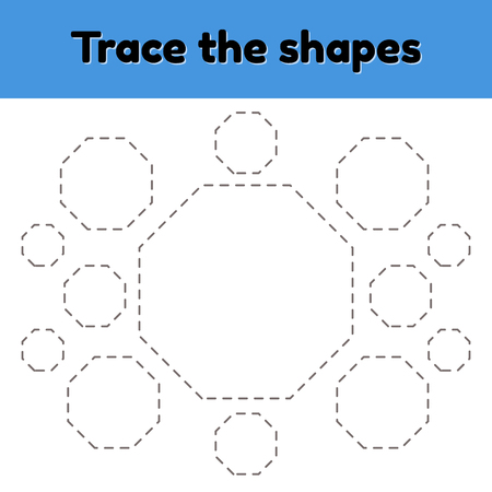 Educational tracing worksheet for kids kindergarten, preschool and school age. Trace the geometric shape. Dashed lines. octagon. Vector Illustratie