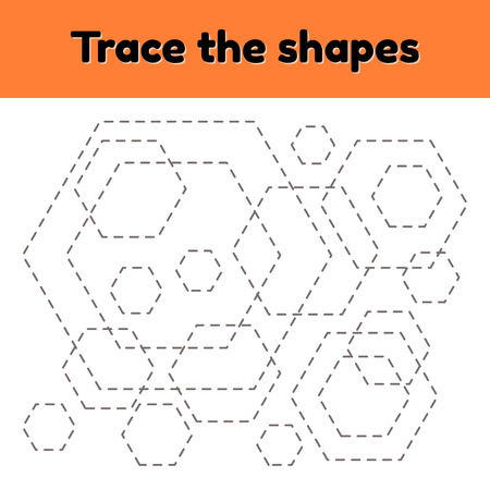 Educational tracing worksheet for kids kindergarten, preschool and school age. Trace the geometric shape. Dashed lines. hexagon.