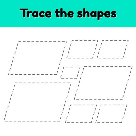 Ilustración vectorial. Hoja de trabajo de rastreo educativo para niños en edad preescolar, preescolar y escolar. Traza la forma geométrica. Líneas puntedas. Paralelogramo. Ilustración de vector