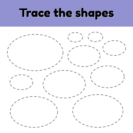 Vector illustration. Educational tracing worksheet for kids kindergarten, preschool and school age. Trace the geometric shape. Dashed lines. Oval.