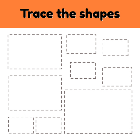 Vector illustration. Educational tracing worksheet for kids kindergarten, preschool and school age. Trace the geometric shape.  Dashed lines. Rectangle.