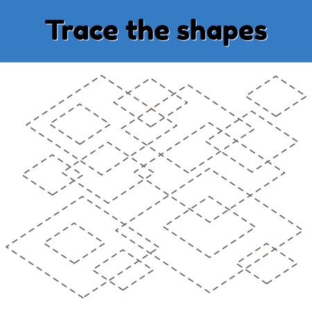 Vector illustration. Educational tracing worksheet for kids kindergarten, preschool and school age. Trace the geometric shape.  Dashed lines. Rhombus.