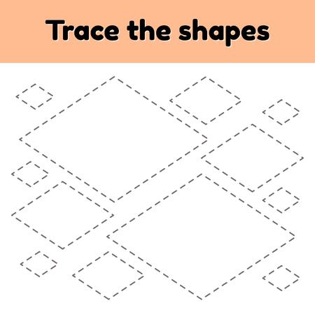 Ilustración vectorial. Hoja de trabajo de rastreo educativo para niños en edad preescolar, preescolar y escolar. Traza la forma geométrica. Líneas puntedas. Rombo.