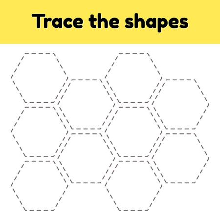 Illustration vectorielle. Feuille de travail de traçage pédagogique pour les enfants d'âge préscolaire, préscolaire et scolaire. Tracez la forme géométrique. Lignes en pointillé. hexagone. Vecteurs