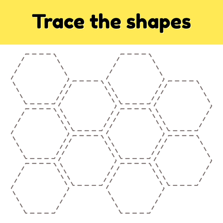 Vector illustration. Educational tracing worksheet for kids kindergarten, preschool and school age. Trace the geometric shape.  Dashed lines. hexagon. Ilustrace