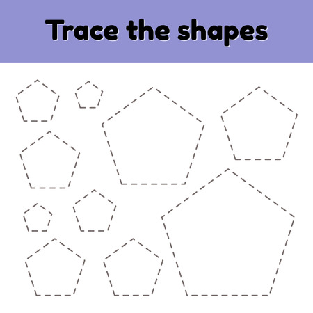 Vector illustration. Educational tracing worksheet for kids kindergarten, preschool and school age. Trace the geometric shape.  Dashed lines. pentagon.