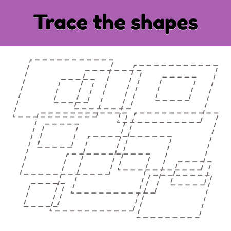 Vector illustration. Educational tracing worksheet for kids kindergarten, preschool and school age. Trace the geometric shape.  Dashed lines. Parallelogram.