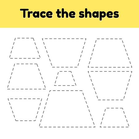 Ilustración de vector. Hoja de trabajo de rastreo educativo para niños en edad preescolar, preescolar y escolar. Traza la forma geométrica. Líneas puntedas. Trapezoide.