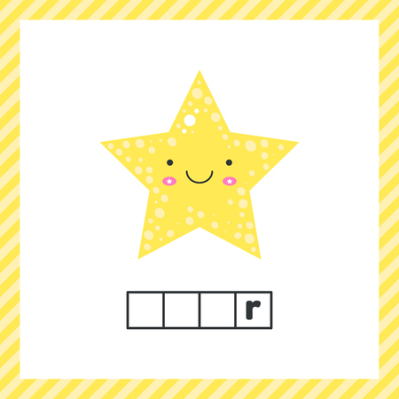 vector illustration. cute geometric figures for kids. Yellow shape star isolated on white background with funny face.  Educational logic worksheet for preschool and school age. Guess the word.