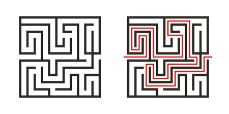 Education logic game labyrinth for kids. Find right way. Isolated simple square maze black line on white background.  With the solution. Vector illustration. Illustration
