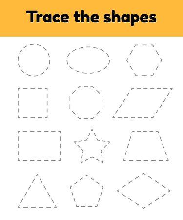 illustration vectorielle. Feuille de travail de traçage pédagogique pour les enfants d'âge préscolaire, préscolaire et scolaire. Tracez la forme géométrique. Lignes en pointillé. Vecteurs