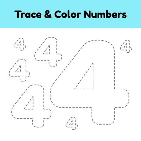 Trace line number for kindergarten and preshool kids. Write and color a four. Vector illustration. Ilustração